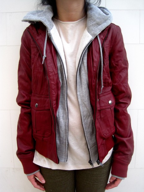 Red leather with grey hood