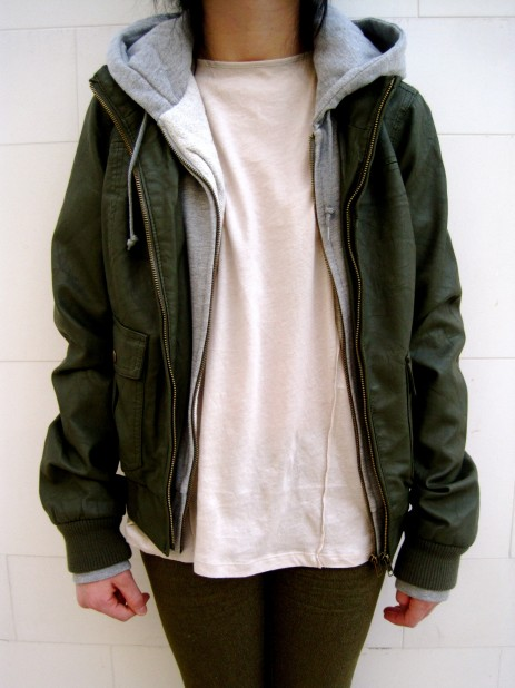Olive leather with grey hood