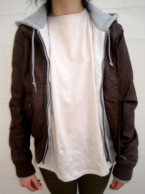 Brown leather with grey hood