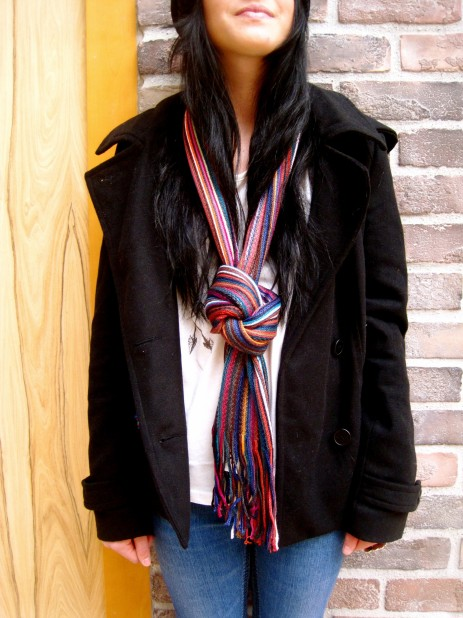 Timing Peacoat paired with a multi color scarf