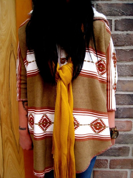 RVCA Nadia Cape matched with a mustard scarf