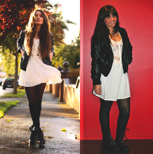 From Active (on the right): Obey leather jacket, O'Neil dress, O'Neil comboat boots
